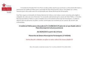 Participe da Audiência Publica para discutir o Plano Municipal de Cultura de Floripa!